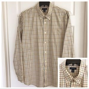 Lands End Button Front Shirt White Red Plaid XXL